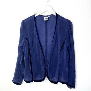 JOHNNY WAS Velvet Trim Long Sleeve Topper Blouse